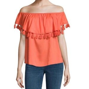 A.N.A  Hot Coral Tassel Trim Off the Shoulder Top